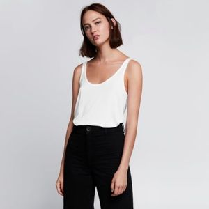 Zara Limited Edition White Ribbed Cami Tank Top